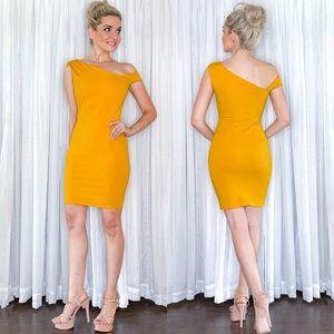 BooHoo Asymmetrical Golden Yellow Mini Dress